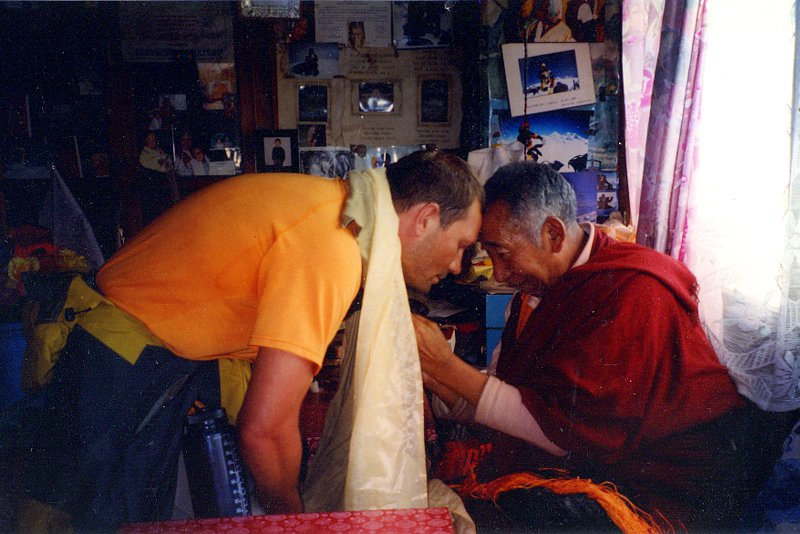 Receiving blessing from renowned Lama Geshe at Everest Base Camp